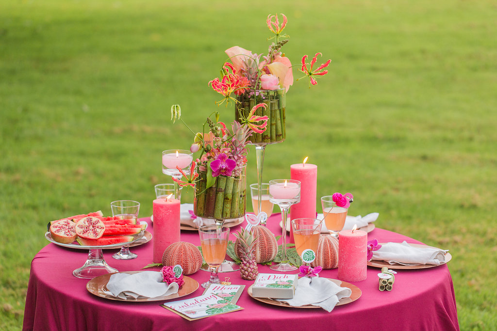 Flamingo tropische Tischdekoration