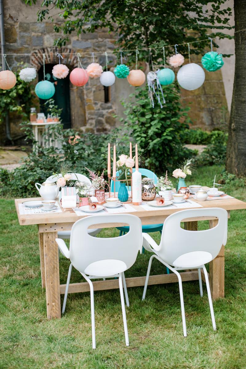 Tischdekoration pastell Hochzeit