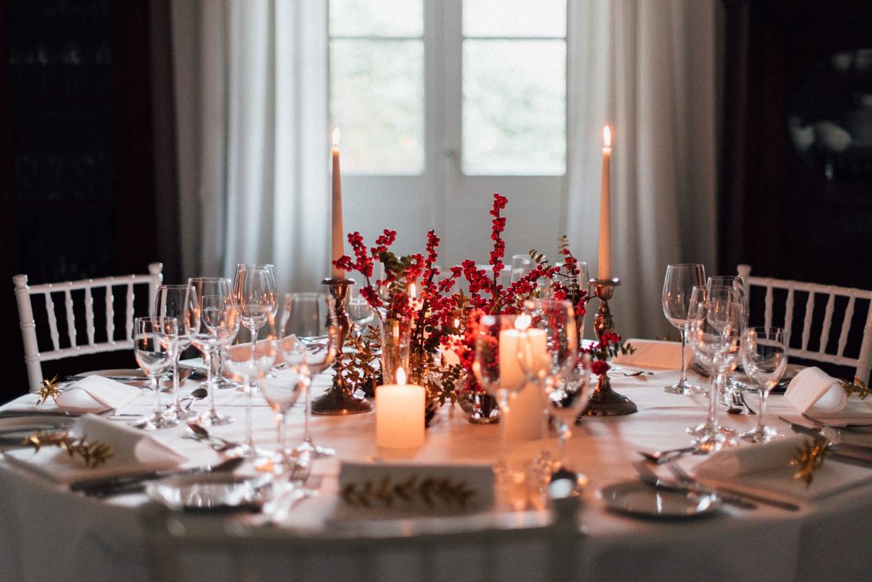 Winterhochzeit Tischdekoration