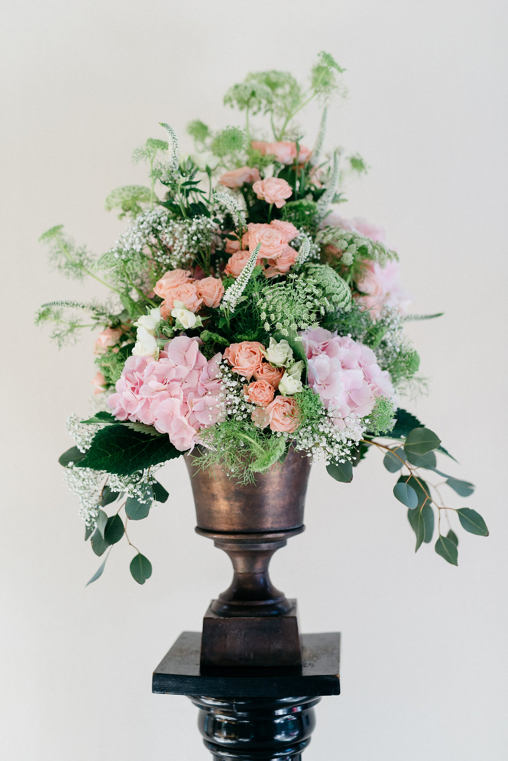 Hochzeitsblumen apricot rosa