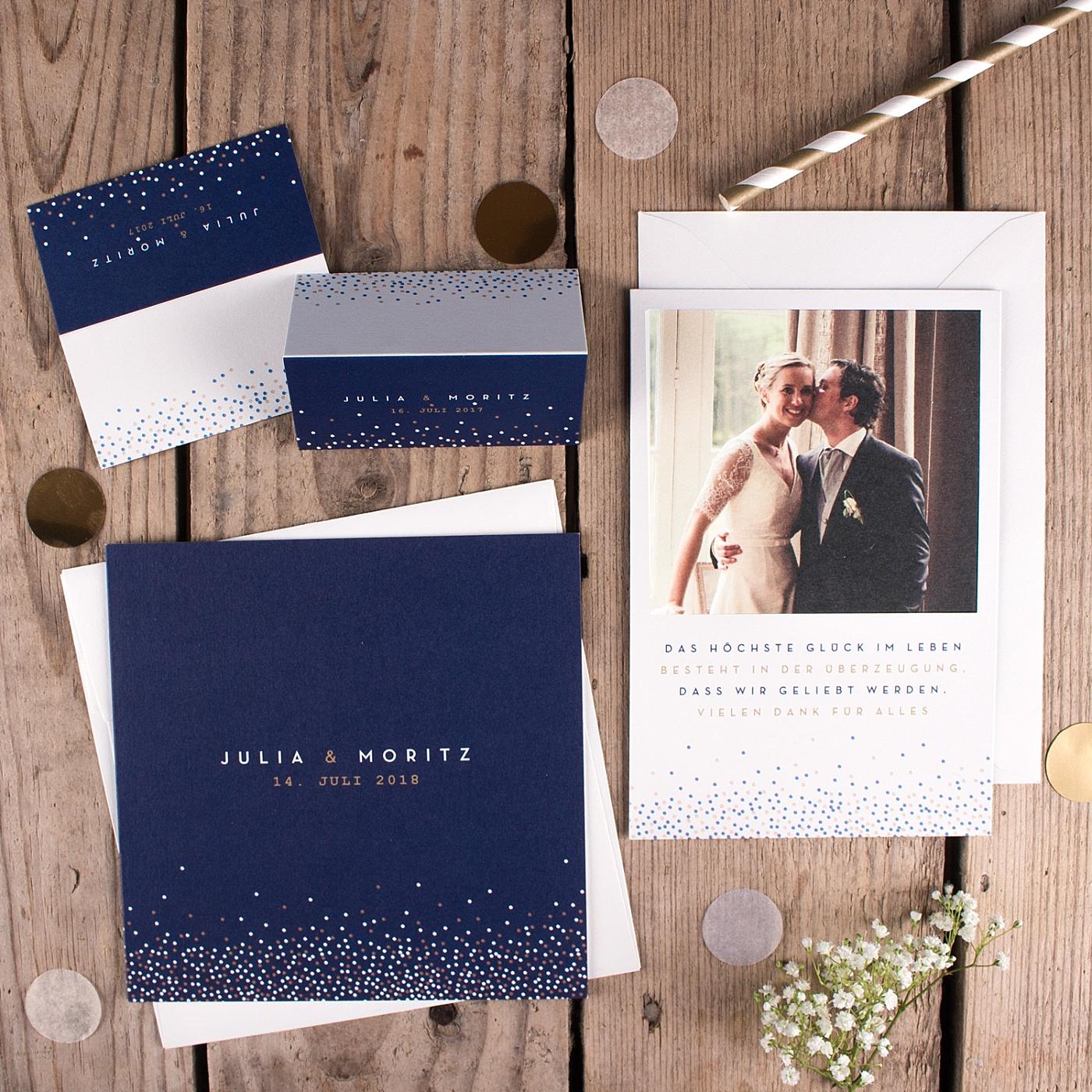 Hochzeitspapeterie blau