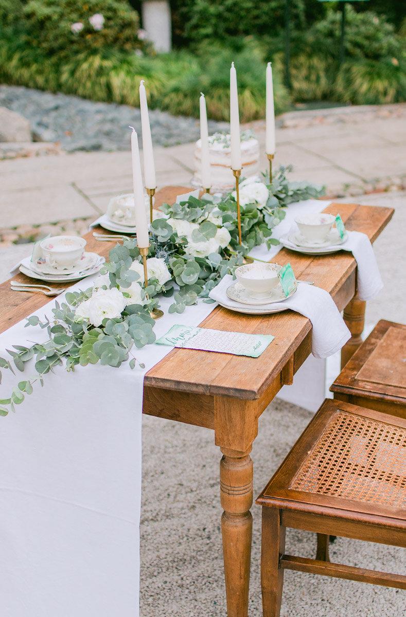 grüne Hochzeit Tischdekoration
