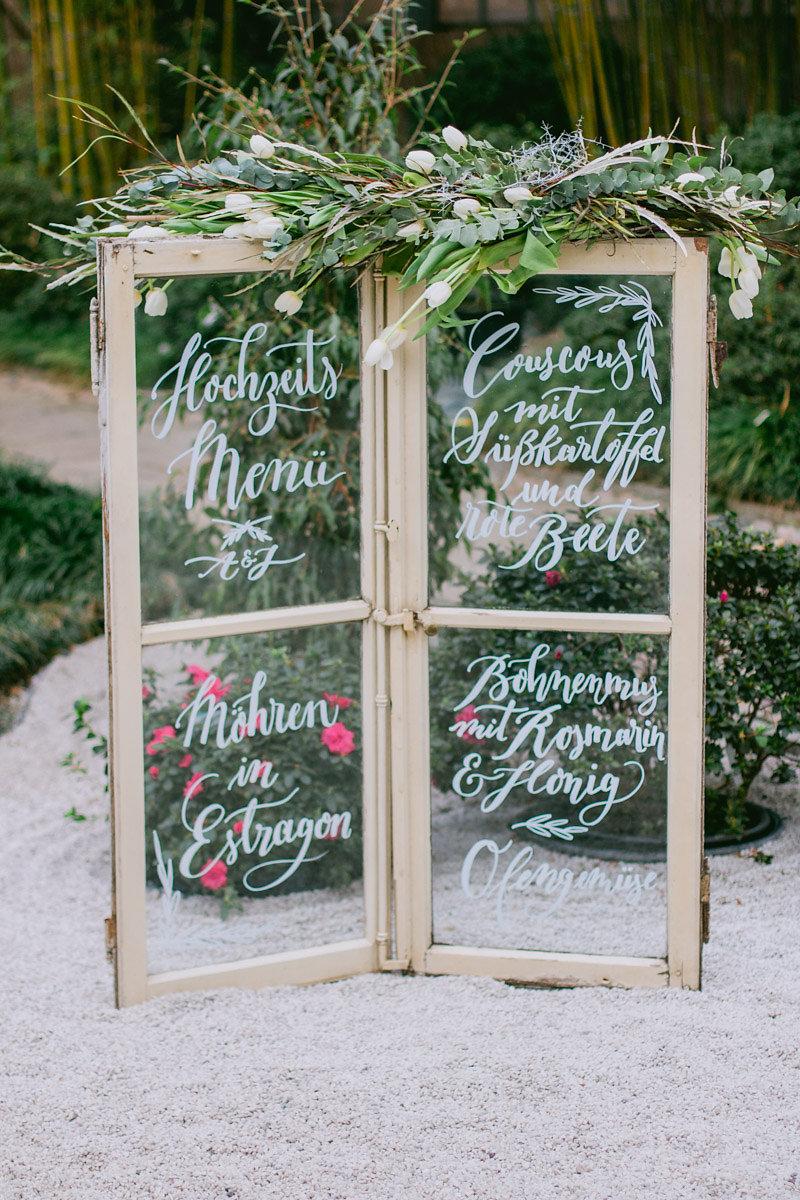 Kalligrafie Hochzeitsmenü