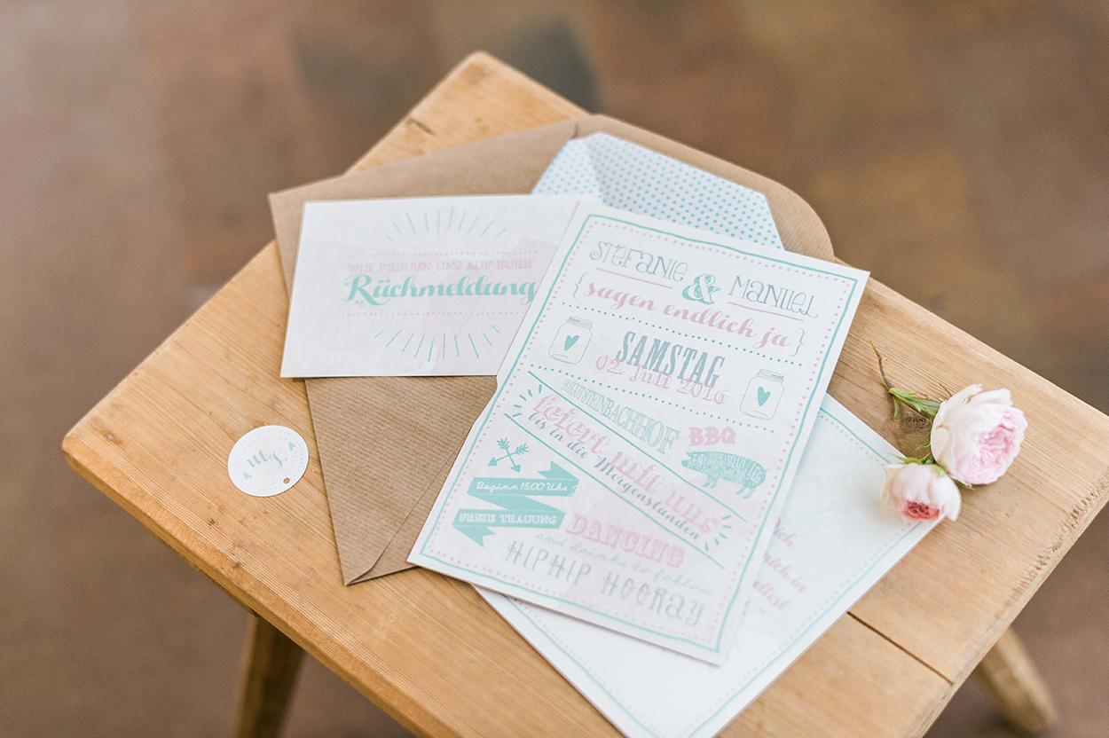 Hochzeitspapeterie Papier und Feder