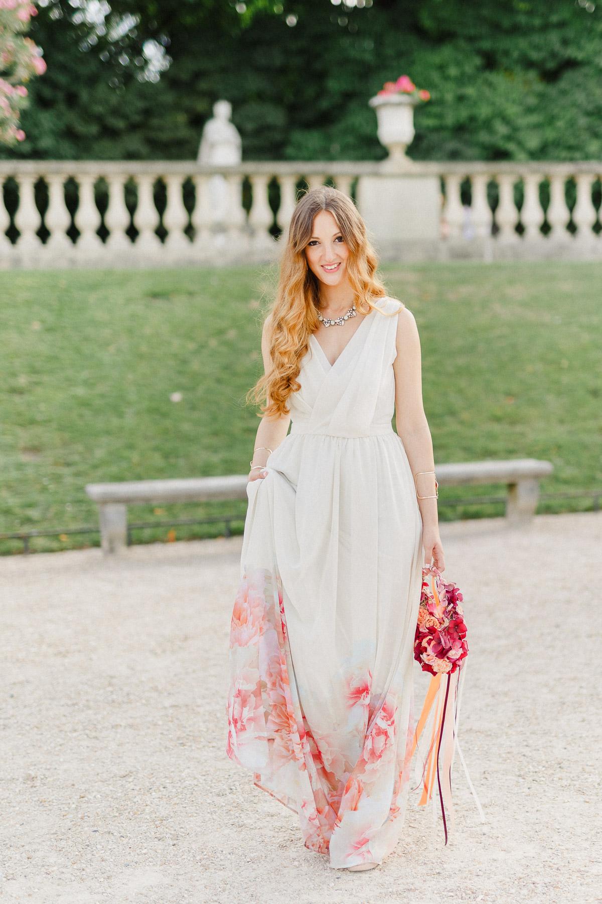 Kleid bodenlang Blumenprint