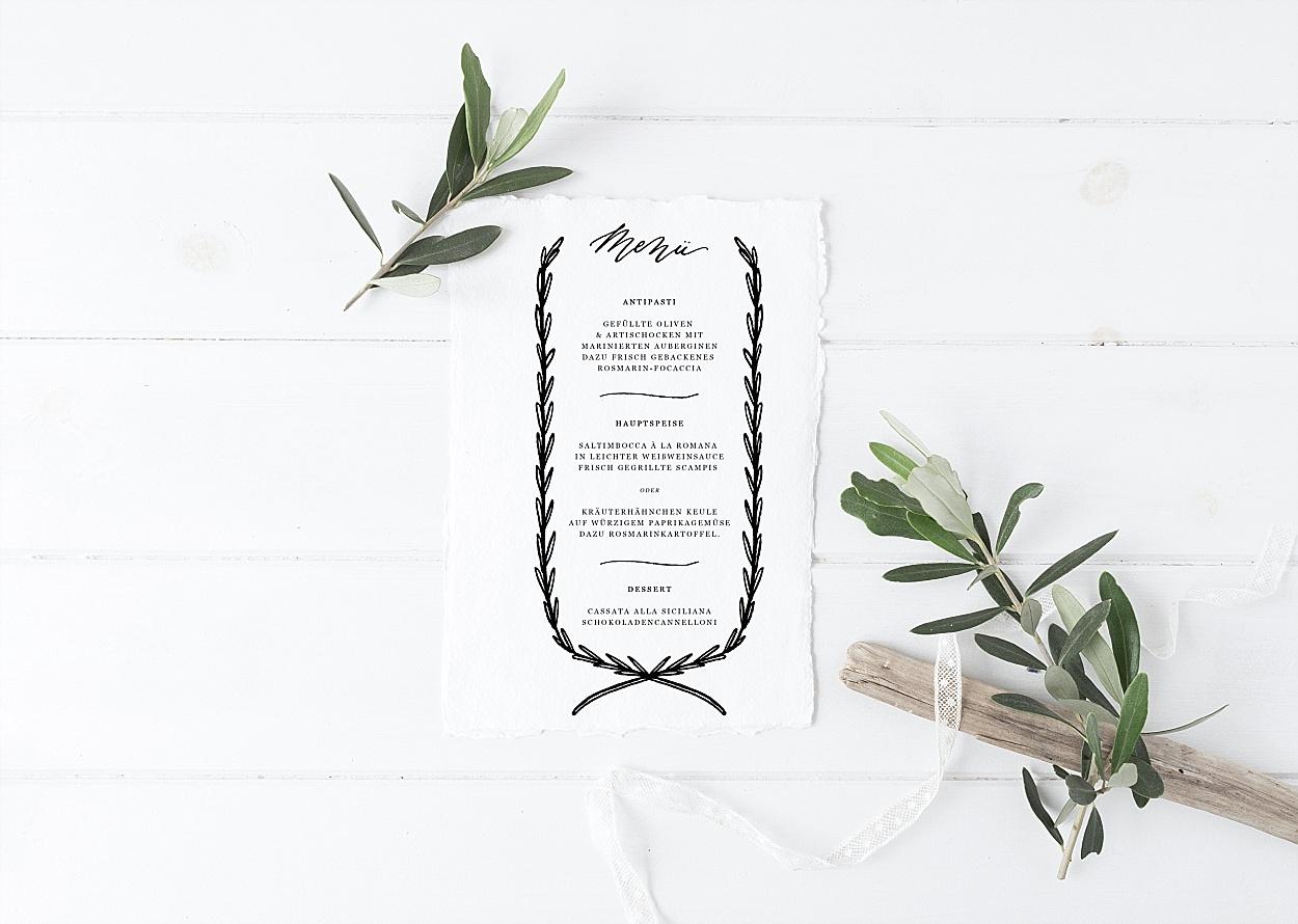 Menükarte Kalligrafie Hochzeit