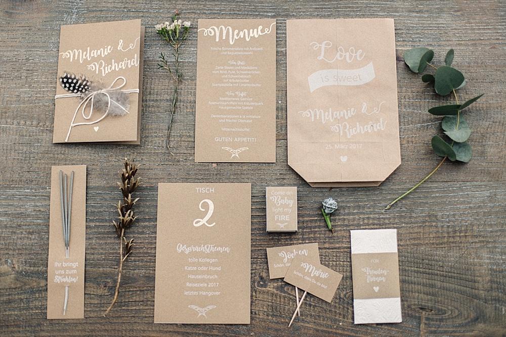Hochzeit Papeterie Kraftpapier