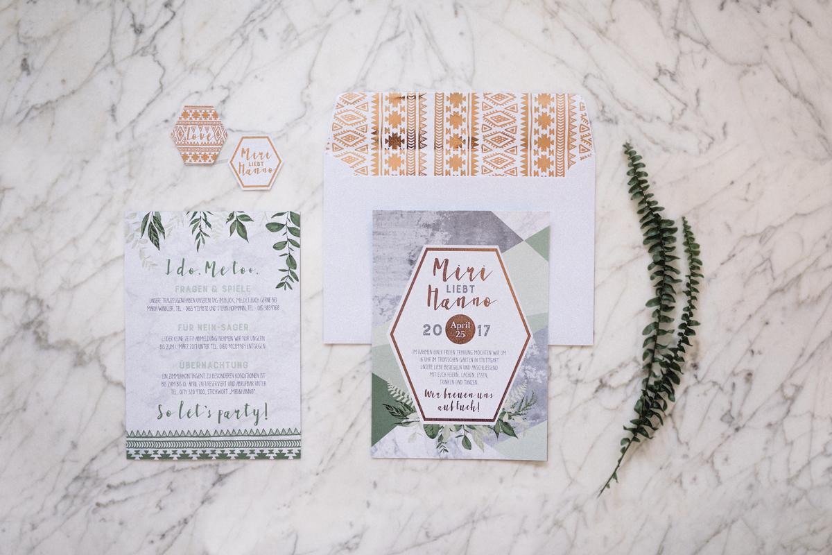 Hochzeitspapeterie grün Marmor Rosegold