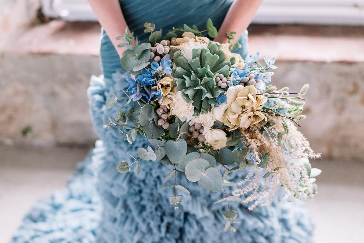 Brautstrauß Sukkulenten blau grün