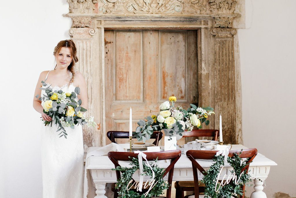 Fine Art Wedding Inspirationen in Greenery und Primerose Yellow