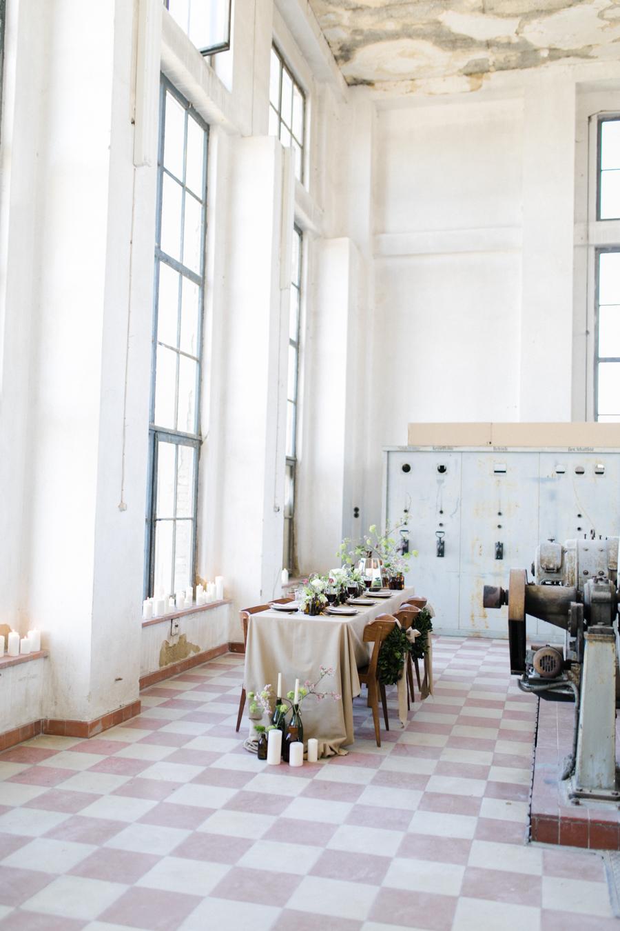 Tischdekoration Hochzeit Greenery