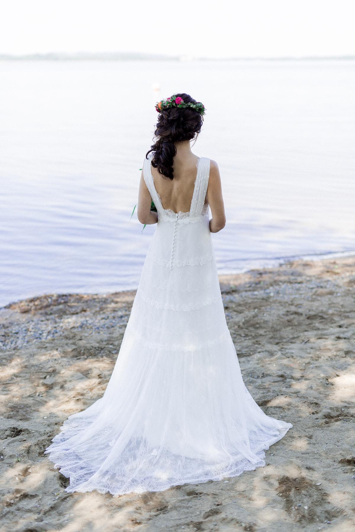 Brautkleid Boho mit Schleppe