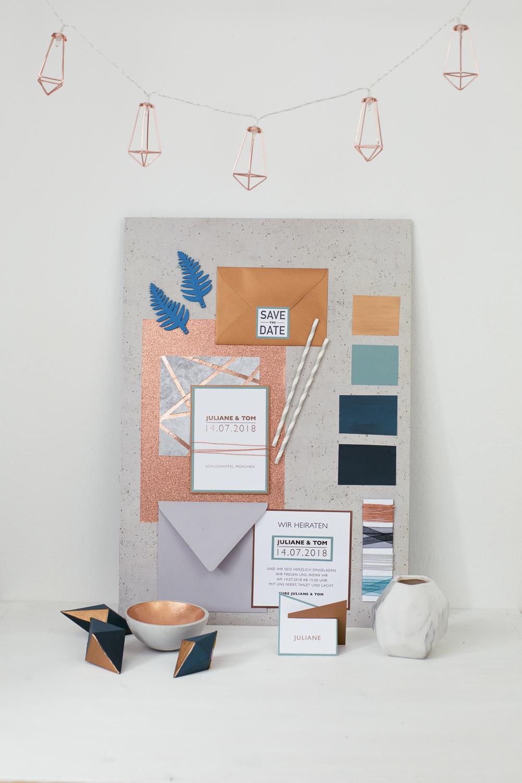 Hochzeit Color Moodboard Urban Style mit Kupfer und Beton