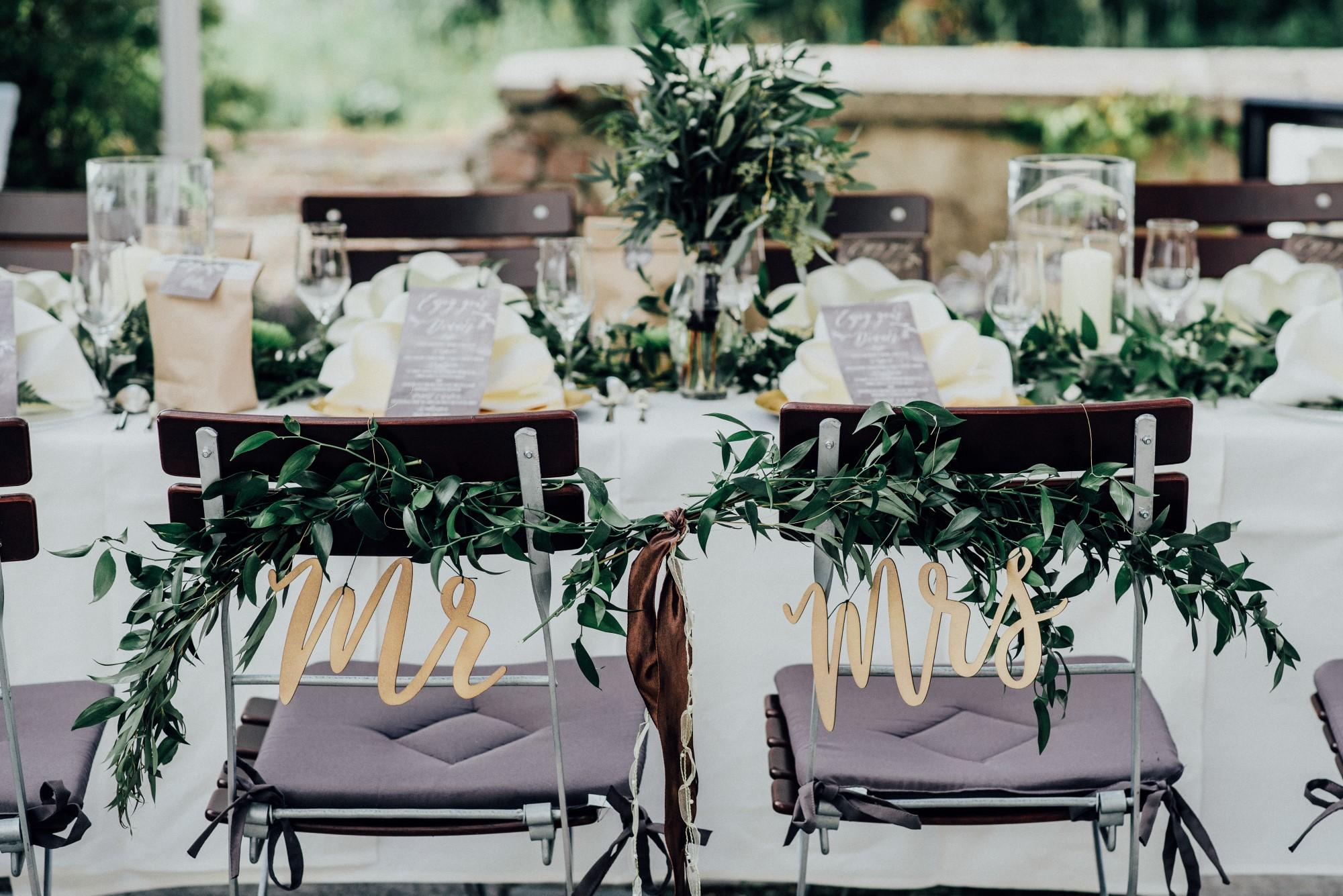Stuhlschild Dekoration Stühle Hochzeit Mr Mrs