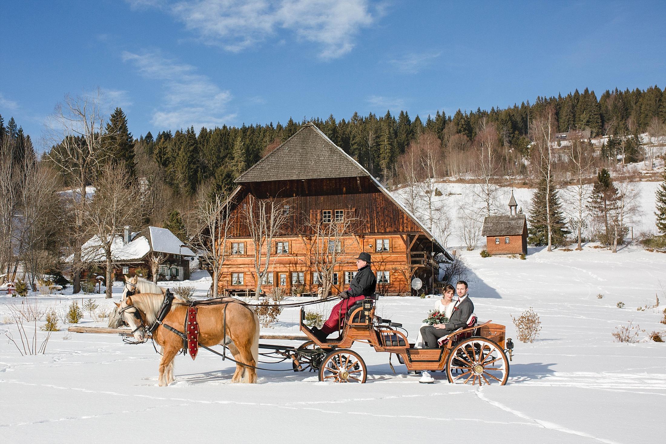 Winter Hochzeit Kutschfahrt