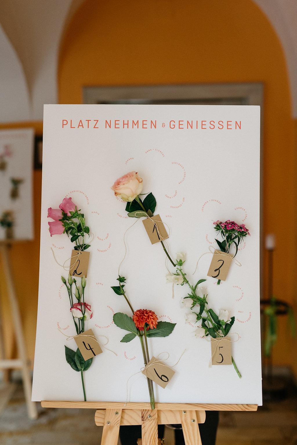 Sitzplan Hochzeit Blumen