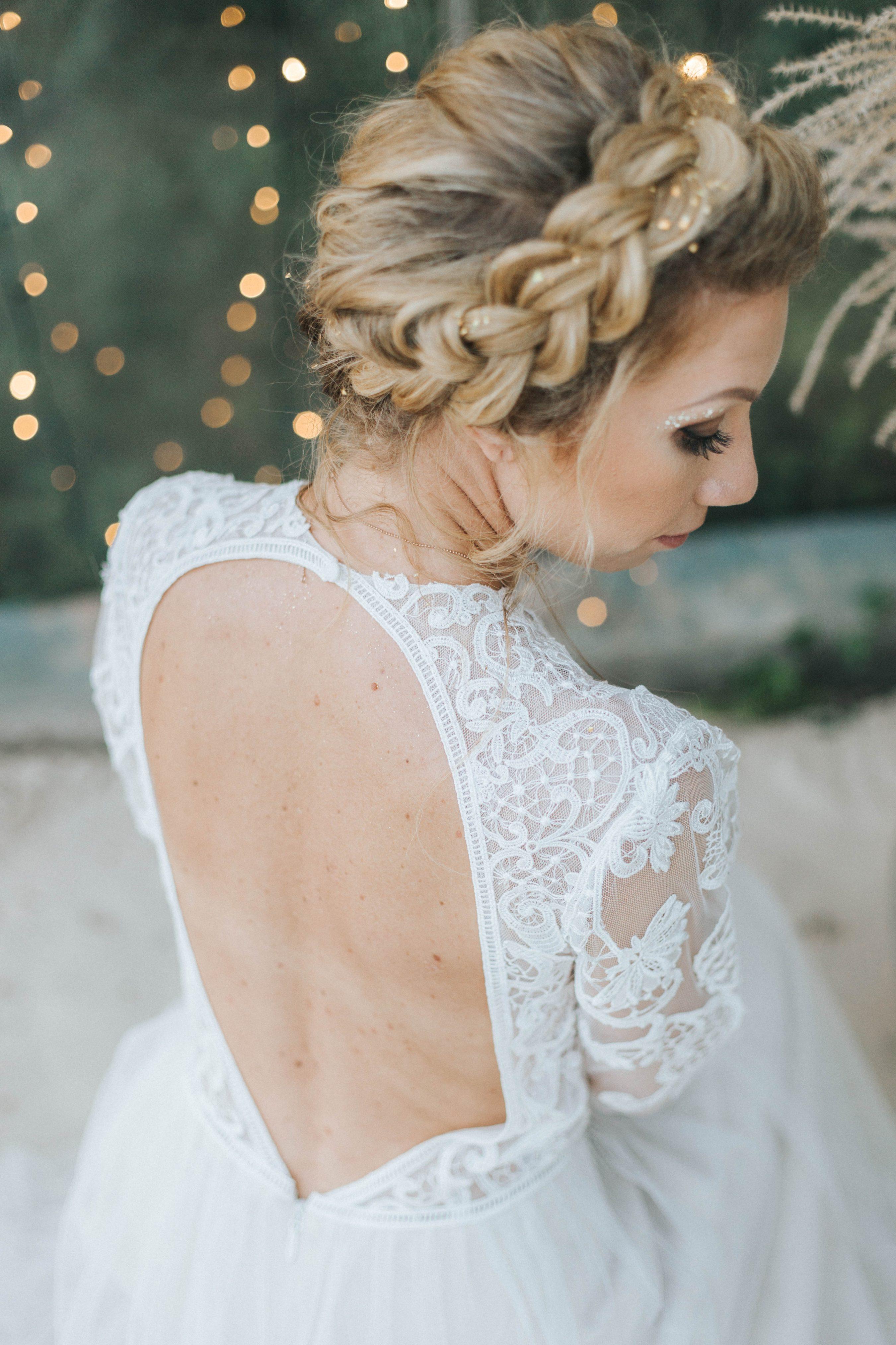 Brautfrisur hochgesteckt Zopf