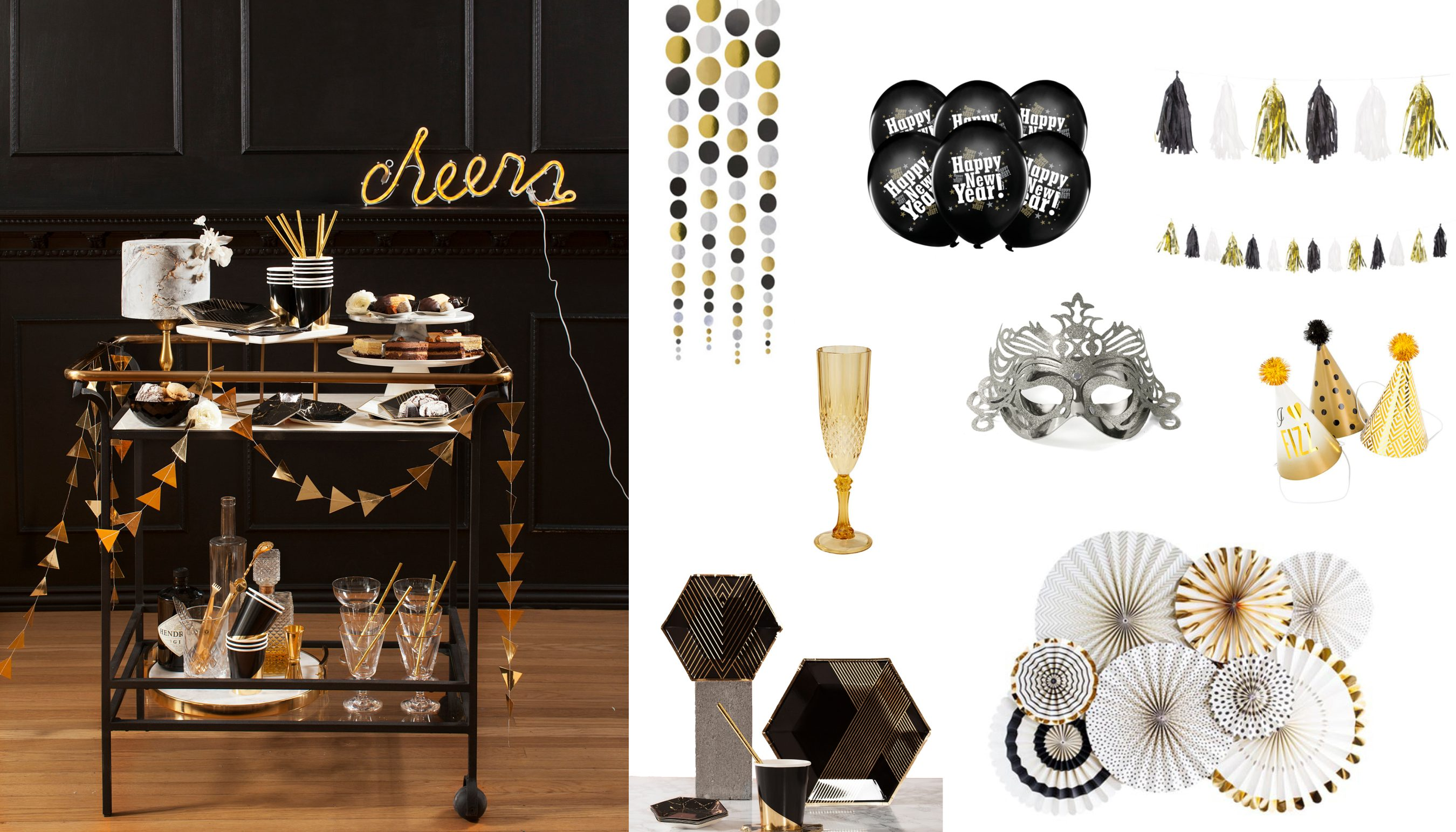 Silvester Party Schwarz Gold