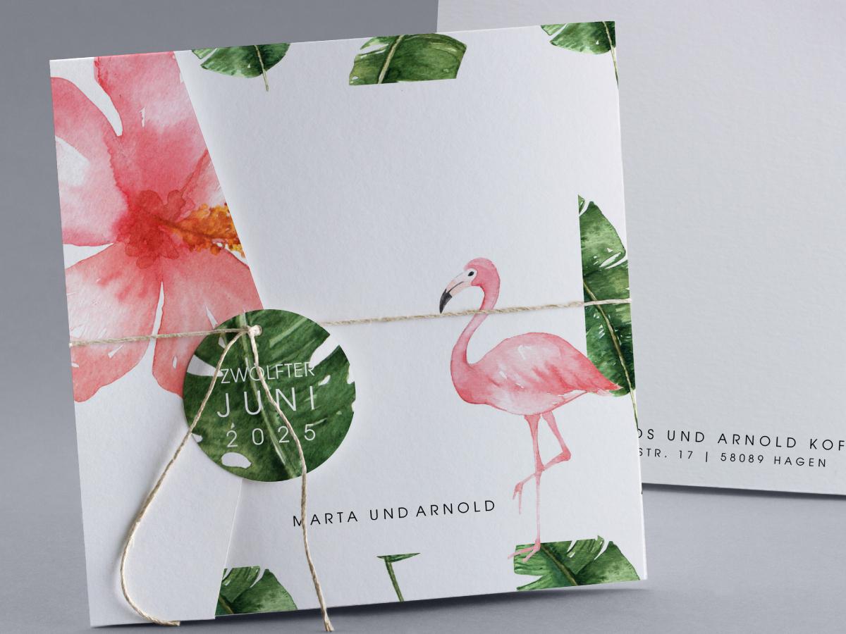Hochzeitskarten Flamingo
