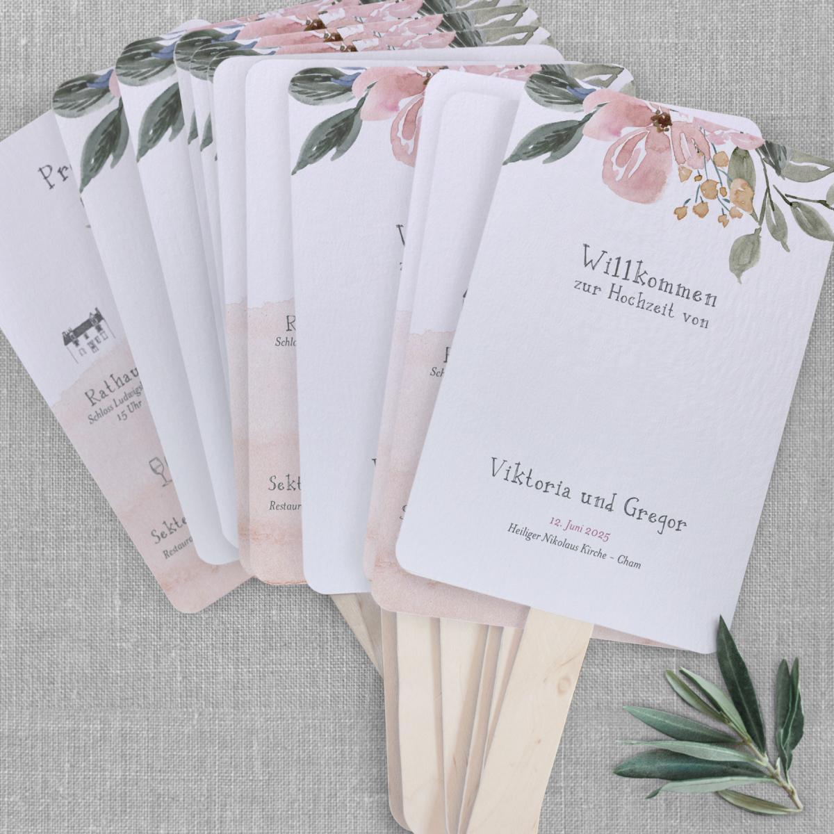 Programm für Hochzeit Fächer - Wasserfarben für Fine Art Wedding
