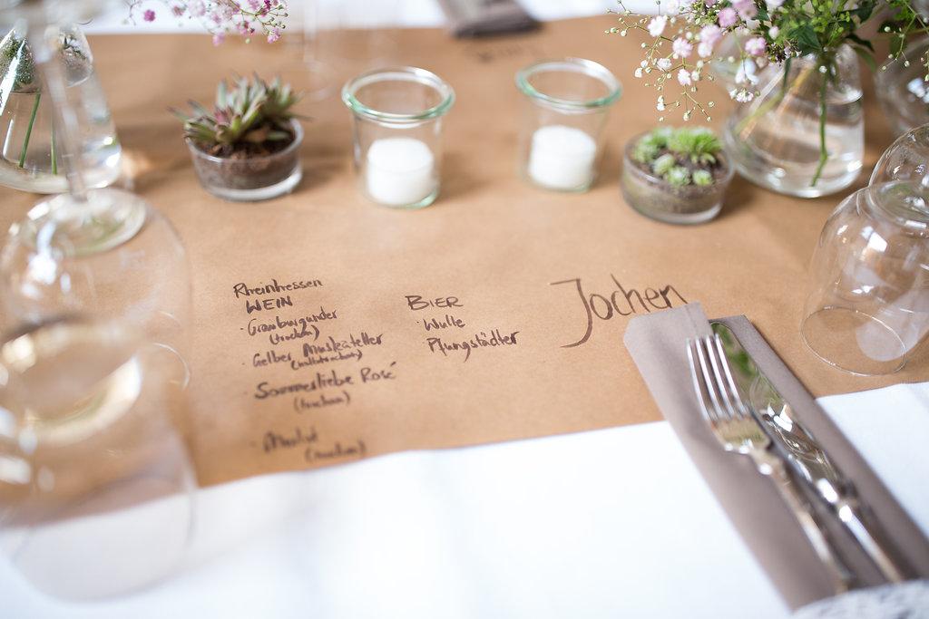 Tischläufer Hochzeit mit Menükarte