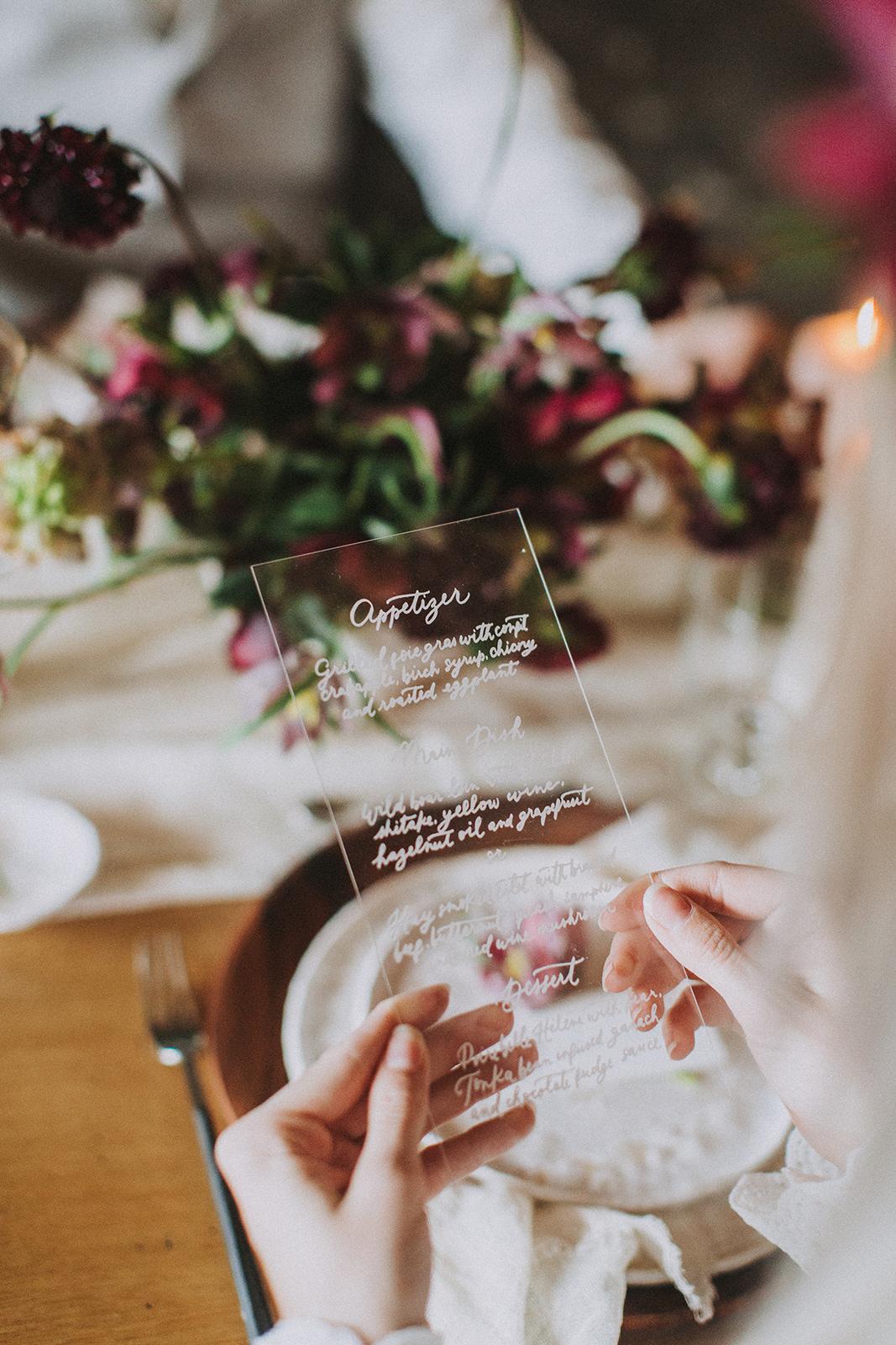 Menükarte Acryl, Hochzeitskarten Acrly, Hochzeitspapeterie Acryl, Hochzeitstrends 2018
