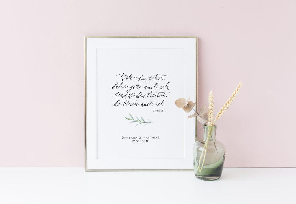 Neue individualisierbare Kalligrafie Poster für eure Hochzeit