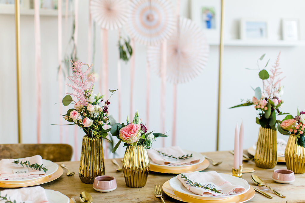 Tischdeko Ideen Hochzeit rosa Gold