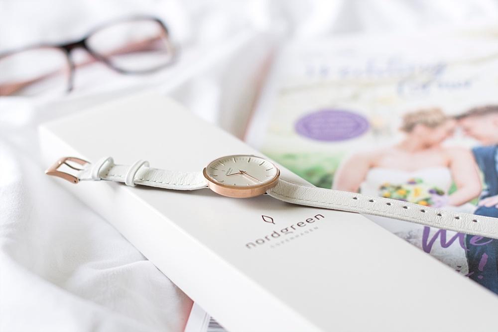 Stylishe Uhren für die Braut 1 x 1 Nordgreen Uhr Infinity Roségold mit weißem Lederarmband