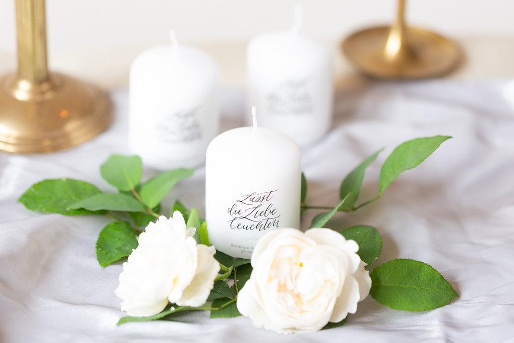 Gastgeschenk Kerzen Lasst die Liebe leuchten für Hochzeit