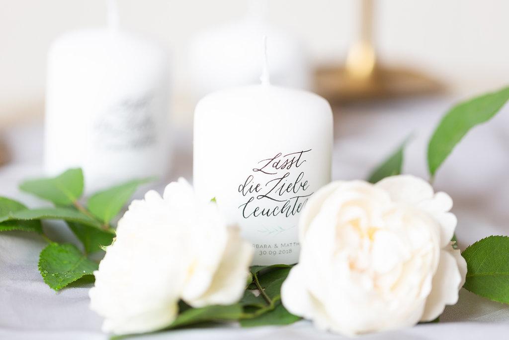 Gastgeschenk Kerzen individuell Hochzeit