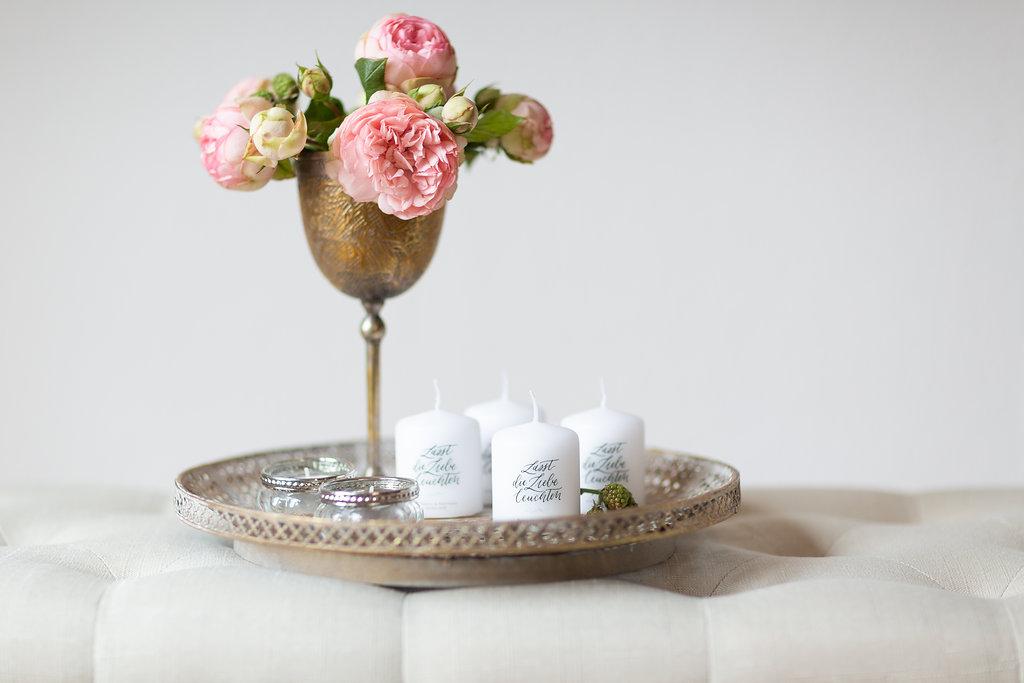 Hochzeit Gastgeschenke Kerze personalisiert mit Namen brautpaar