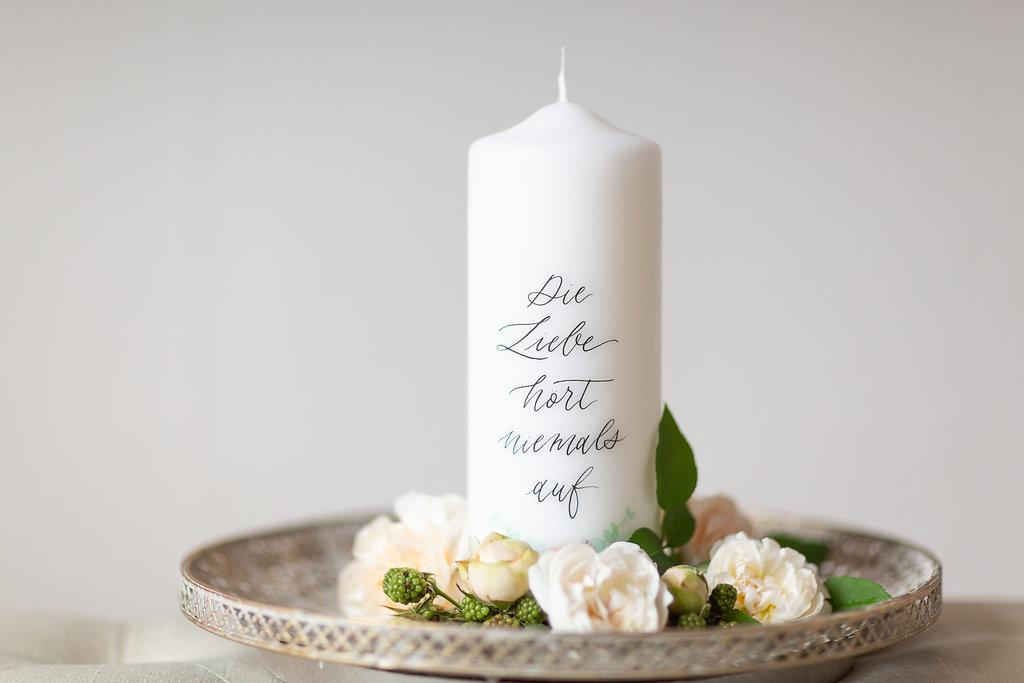 Hochzeitskerze Korintherbrief, Traukerze modern, Traukerze personalisiert