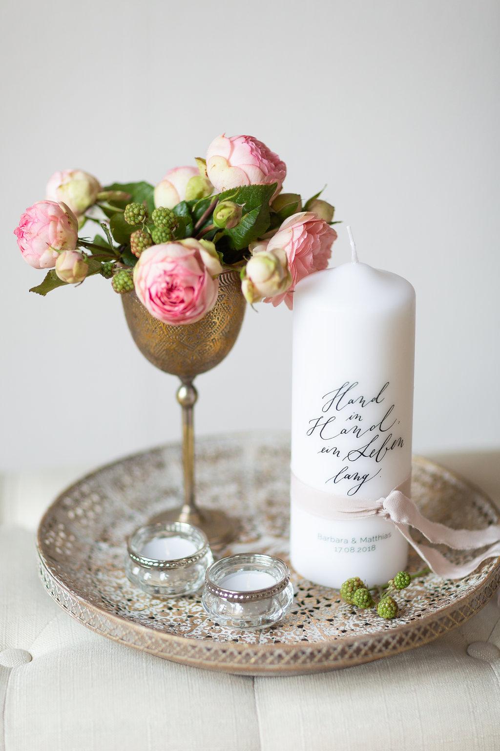 Hochzeitskerze personalisiert und individuell für moderne und Vintage Hochzeit, Traukerze modern, Hochzeitskerze modern