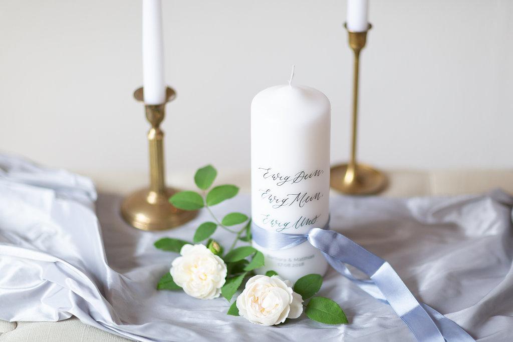 personalisierte Hochzeitskerze Ewig Uns mit Namen Brautpaar in Kalligrafie Stil für Vintage Hochzeit modern und individuell