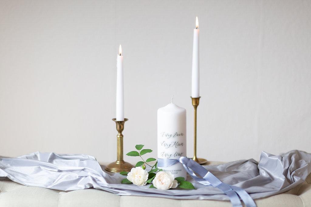 personalisierte Hochzeitskerze Ewig Uns mit Namen Brautpaar in Kalligrafie Stil für Vintage Hochzeit modern
