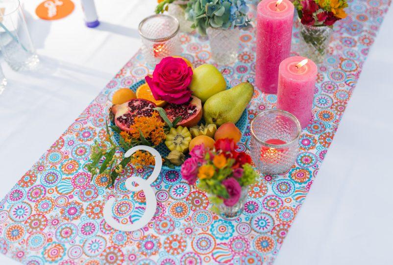 Bunter Sweet Table für Sommerfestival Hochzeit