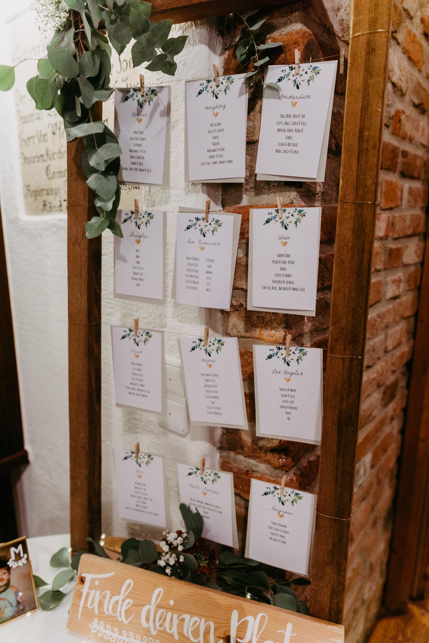 Sitzplan Hochzeit DIY, Sitzplan selber machen für Hochzeit