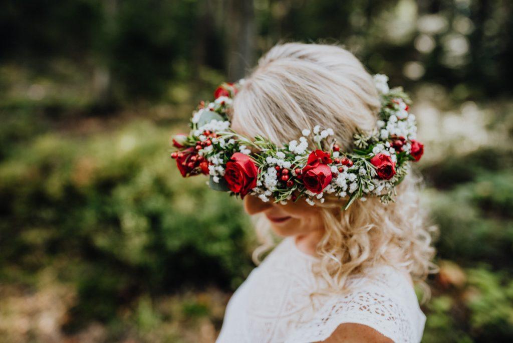 Haarkranz Boho Braut, haarkranz Blüten rot