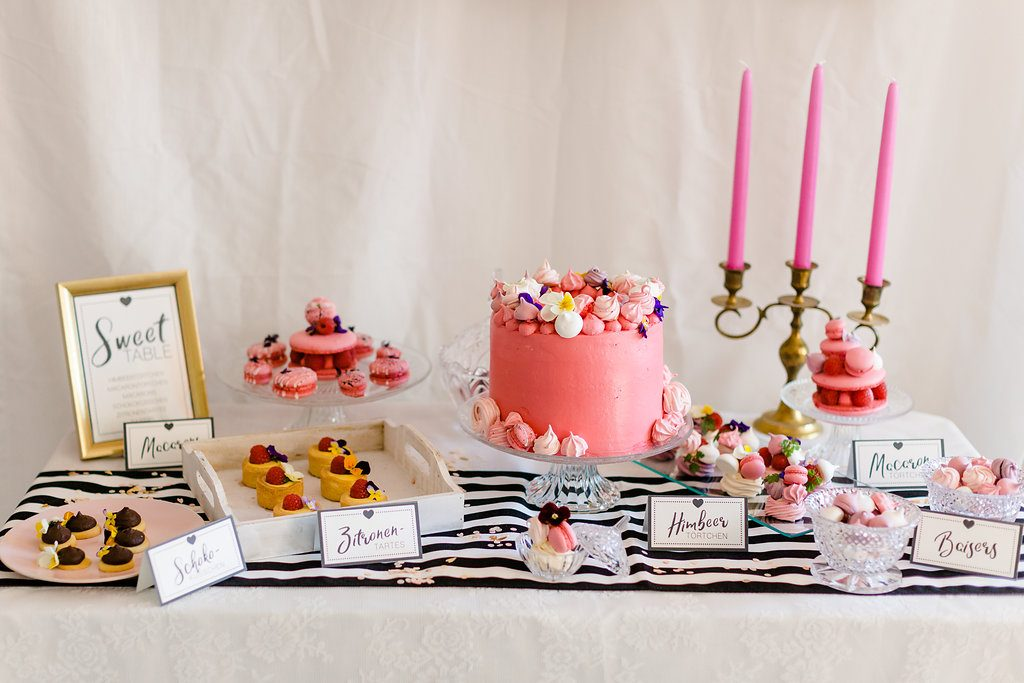 Sweet Table Brautparty, Sweet Table Hochzeit Pink