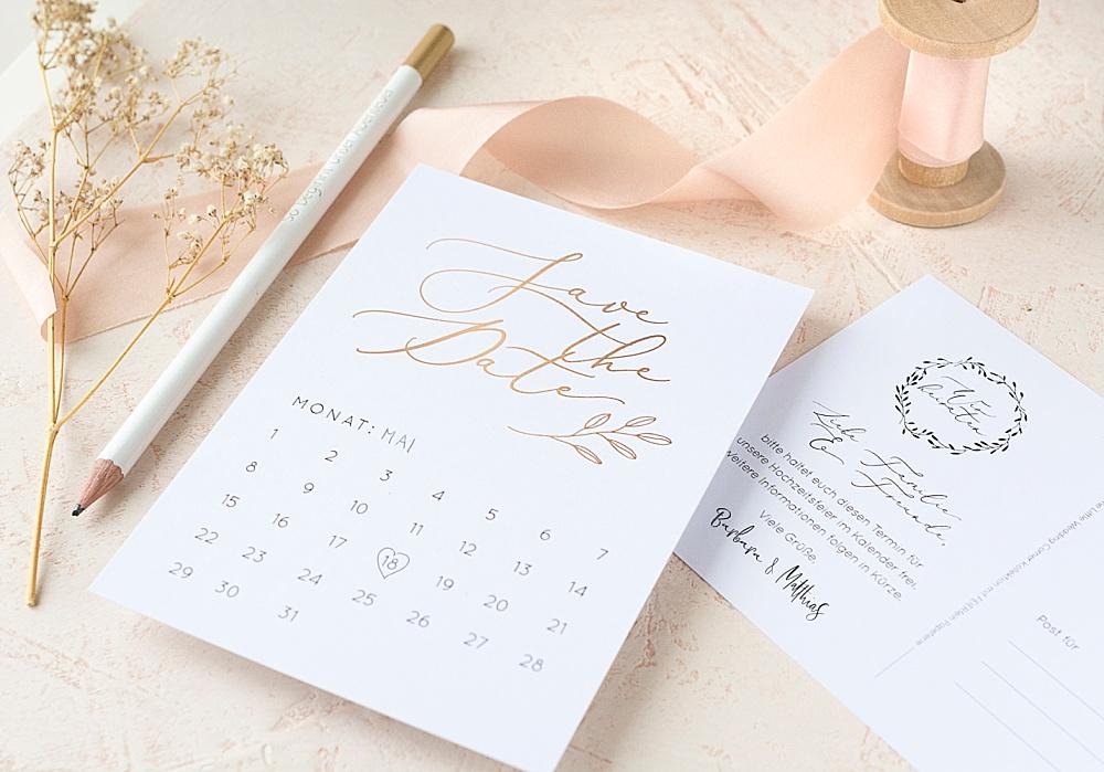 Save the Date Postkarten mit Kalender zum Ausfüllen