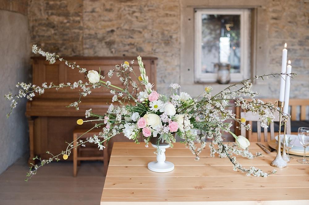 Centerpiece Tischdekoration Hochzeit Frühling