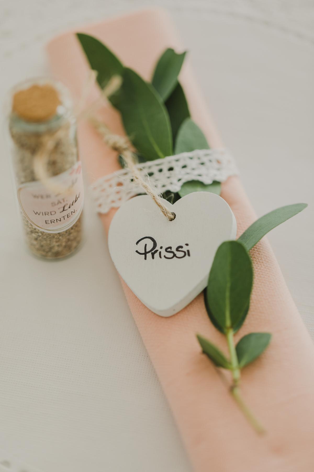 Namensschild Hochzeit Tischdeko