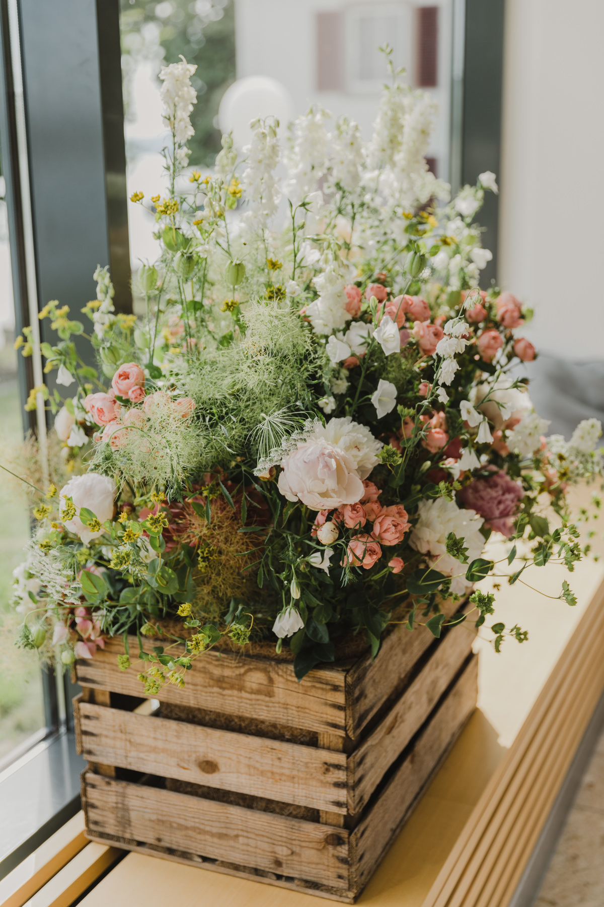 Blumen Holzkiste Dekoration Hochzeit