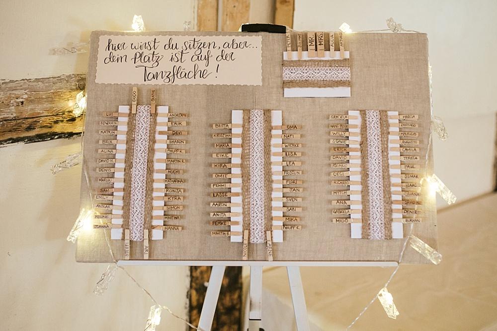 Sitzplan für Hochzeit selber machen