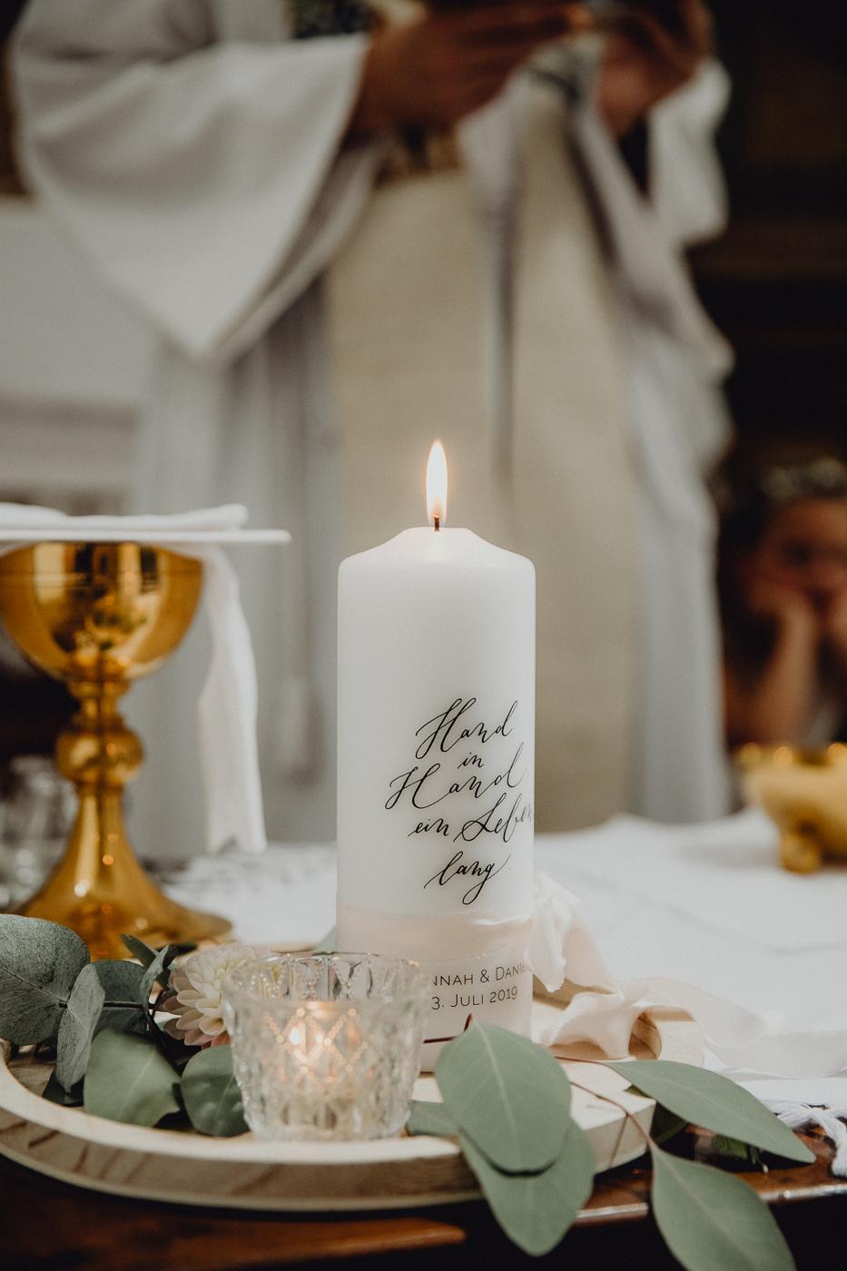 Traukerze modern, Traukerze Boho, Traukerze personalisiert, Hochzeitskerze modern