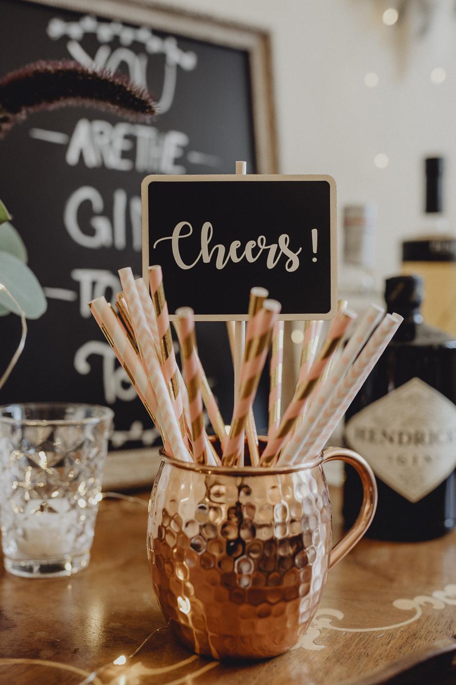 Strohhalme Kupferbecher Hochzeit Gin Bar