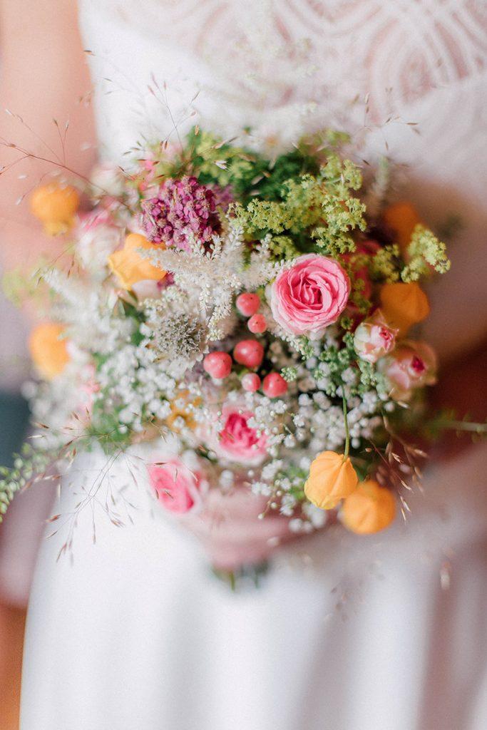 Brautstrauß Wiesenblumen bunt, Brautstrauß Rosa Gelb Grün