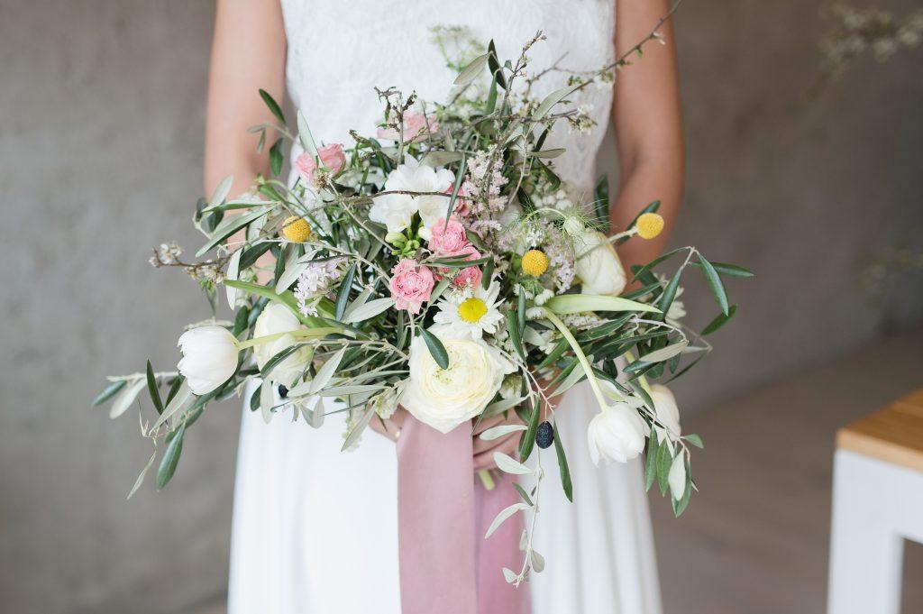 Brautstrauß gelb rosa weiß