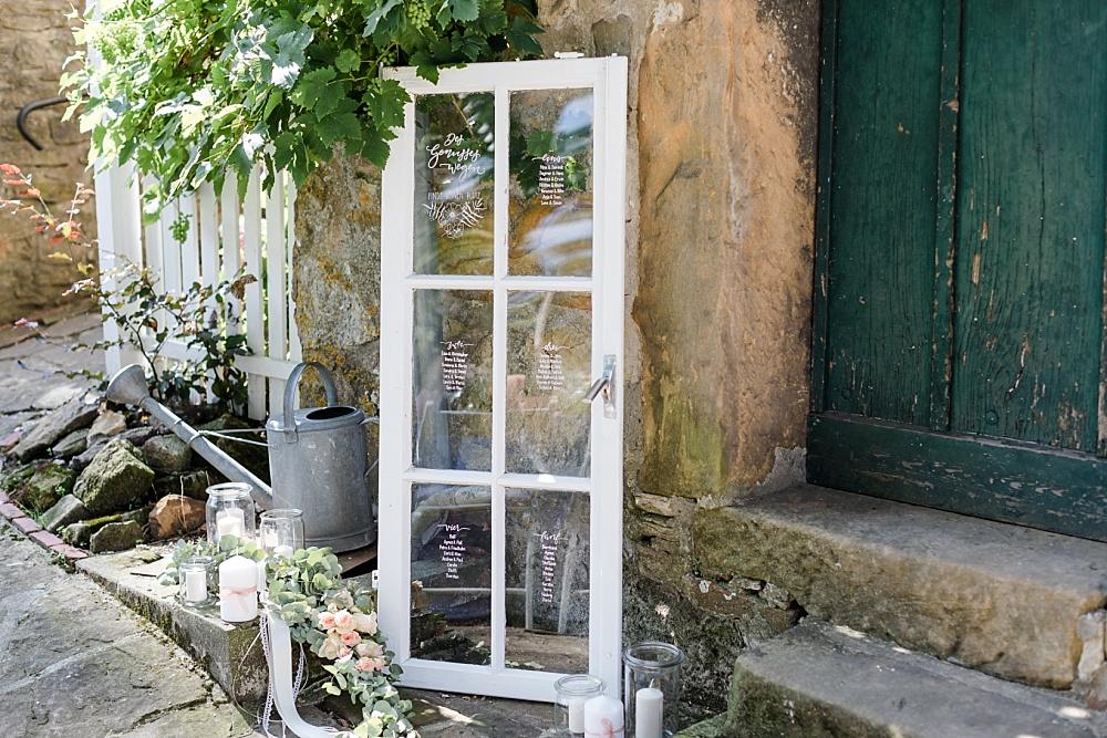 Sitzplan altes Fenster selbermachen für Hochzeit, Sitzplan belettern für HOchzeit auf altem Fenster